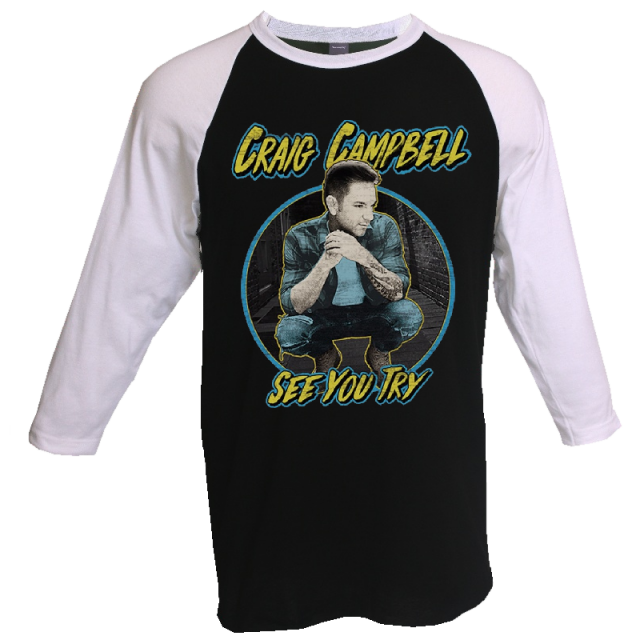 Craig Campbell Black and White Raglan Tee